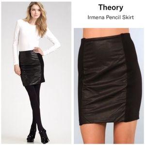 Theory black leather panel Irmena pencil skirt